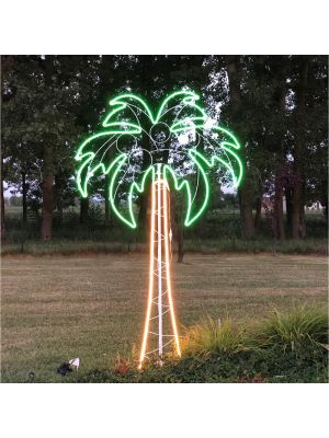 Decorazione luminosa Palma h 200 cm, neon bifacciale, led bianco classic e verde