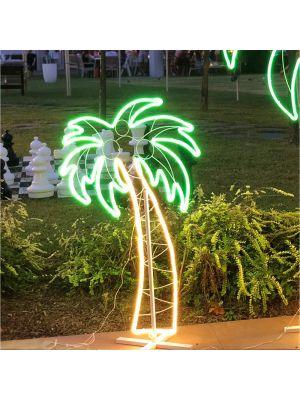 Decorazione luminosa Palma h 120 cm, neon bifacciale, led bianco classic e verde