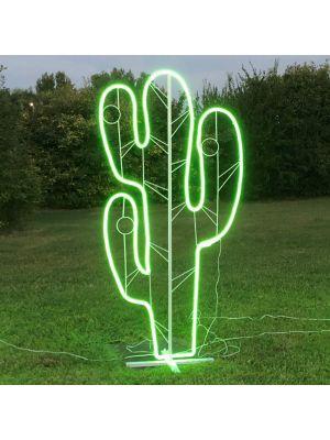 Decorazione luminosa Cactus h 165 cm, neon bifacciale, led verde