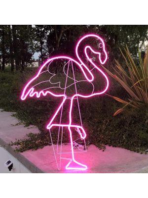 Decorazione luminosa Fenicottero h 115 cm, neon bifacciale, led pink