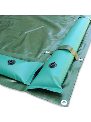 Copertura invernale 12 x 22 m per piscina 10 x 20 m - con tubolari e fasce anti ribaltamento