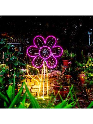 Decorazione luminosa Fiore h 185 cm, neon bifacciale, led pink e bianco classic