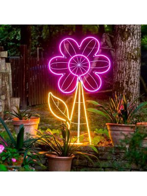 Decorazione luminosa Fiore h 120 cm, neon bifacciale, led pink e bianco classic