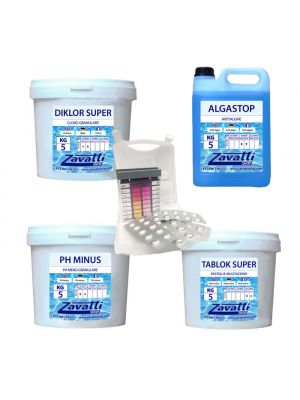 Summer Kit Plus: 5 kg Diklor + 5 kg Ph Minus + 5 lt Algastop + 5 kg Tablok Super + test kit pastiglie