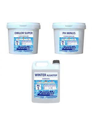 Kit Winter 15 kg: 5 kg Diklor Super + 5 kg Ph Minus + 5 lt Winter Algastop
