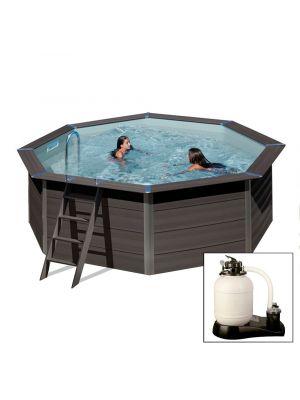AVANTGARDE ø410 x h124 cm - filtro a sabbia - piscina in materiale composito colore antracite con pannelli premontati