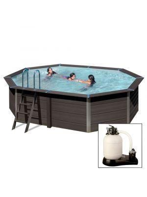 AVANTGARDE 524 x 386 x h124 cm - filtro a sabbia - piscina in materiale composito colore antracite con pannelli premontati