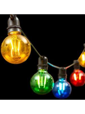Catena 8 m, 10 lampadine e27 ø8 cm, prolungabile, led multicolor