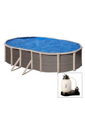 FUSION POOL - Piscina fuoriterra IBRIDA 670 x 370 x h 135 cm - filtro a SABBIA - in acciaio e polipropilene