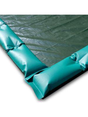 Telo invernale 12 x 6 con tubolari antivento antiribaltamento ad appoggio - per piscina 11 x 5
