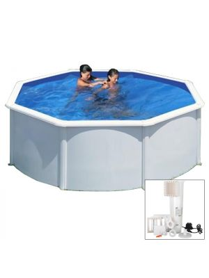 AZORES - Ø 350 x h132 cm - filtro CARTUCCIA - piscina fuoriterra rigida in acciaio colore bianco Dream Pool - Grè