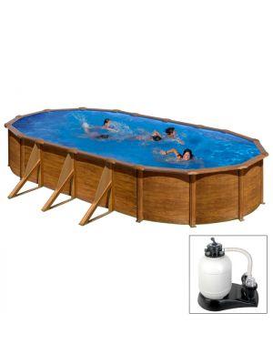 MAURITIUS 730 x 375 x h 132 - filtro SABBIA - Piscina fuoriterra rigida in acciaio fantasia legno Dream Pool - Grè