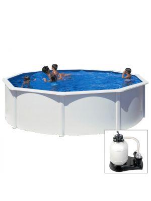 FIDJI - Ø 460 x h120 cm - filtro SABBIA - piscina fuoriterra rigida in acciaio colore bianco Dream Pool - Grè
