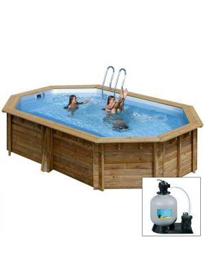 SAFRAN 590 x 365 x h 130 - filtro SABBIA - piscina fuori terra in legno sistema omega - Gré