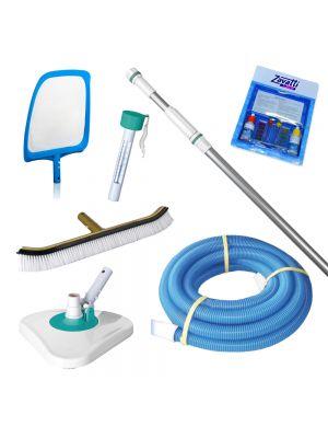 Kit pulizia MAXI per piscina completo di ASTA TELESCOPICA e CANNA GALLEGGIANTE
