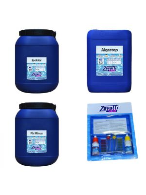 Kit Calcium 150 kg: 50 kg Ipoklor + 50 lt Algastop + 50 kg Ph Minus + Test Kit omaggio