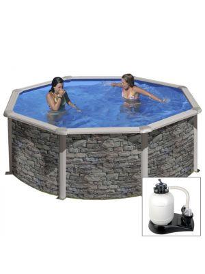 CERDEÑA Ø 350 x h 120 - filtro SABBIA - Piscina fuoriterra rigida in acciaio fantasia pietra Dream Pool - Grè