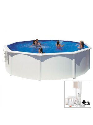 BORA BORA - Ø 460 x h120 cm - filtro CARTUCCIA - Piscina fuoriterra rigida in acciaio colore bianco Dream Pool - Grè