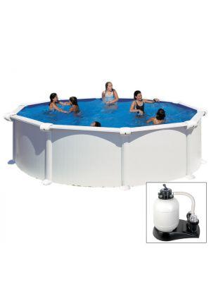 ATLANTIS - Ø 460 x h132 cm - filtro SABBIA - piscina fuoriterra rigida in acciaio colore bianco Dream Pool - Grè