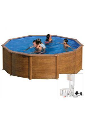 MALDIVAS Ø 460 x h 132 - filtro CARTUCCIA - Piscina fuoriterra rigida in acciaio fantasia legno Dream Pool - Grè