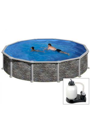 CÓRCEGA Ø 460 X H132 - filtro SABBIA - Piscina fuoriterra rigida in acciaio fantasia pietra Dream Pool - Grè