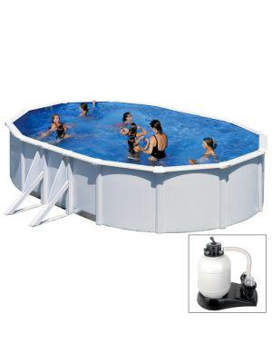 FIDJI - 500 x 300 x h120 cm - filtro SABBIA - piscina fuoriterra rigida in acciaio colore bianco Dream Pool - Grè