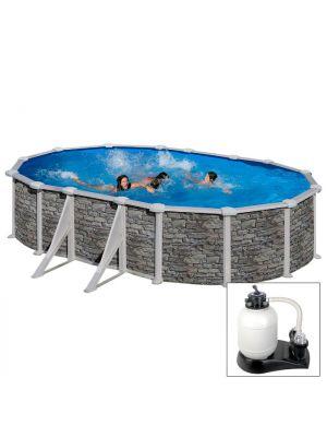 CERDEÑA 500 x 300 x h 120 - filtro SABBIA - Piscina fuoriterra rigida in acciaio fantasia pietra Dream Pool - Grè
