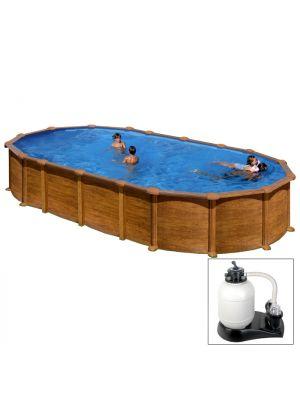 AMAZONIA 730 x 375 x h 132 - filtro SABBIA - Piscina fuoriterra rigida in acciaio fantasia legno Dream Pool - Grè