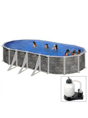 CÓRCEGA 730 X 375 X H132 - filtro SABBIA - Piscina fuoriterra rigida in acciaio fantasia pietra Dream Pool - Grè