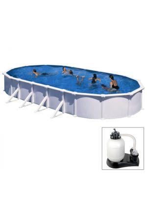 ATLANTIS - 915 x 470 x h132 cm - filtro SABBIA - piscina fuoriterra rigida in acciaio colore bianco Dream Pool - Grè