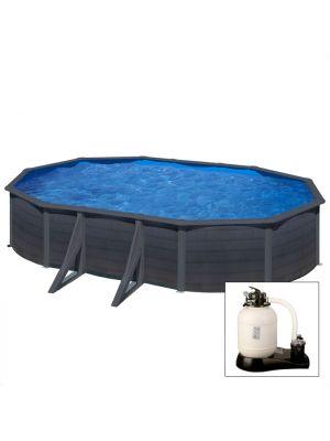KEA 610 x 375 x h 120 - filtro SABBIA - Piscina fuoriterra rigida in acciaio fantasia GRAFITE Dream Pool - Grè