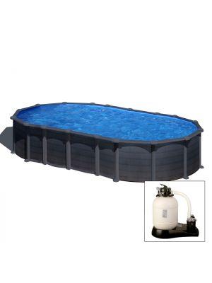 CAPRI 610 x 375 x h 132 - filtro SABBIA - Piscina fuoriterra rigida in acciaio fantasia GRAFITE Dream Pool - Grè