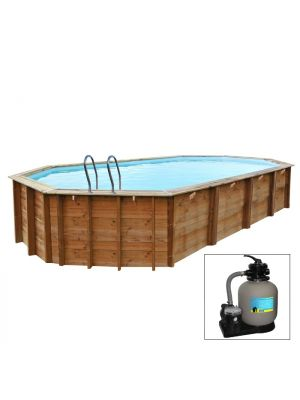 VERMELA 623 x 423 x h 142 - filtro a SABBIA - piscina fuori terra in legno sistema ad incastro - Gré