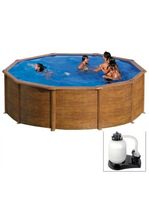 MAURITIUS Ø 460 x h 132 - filtro SABBIA - Piscina fuoriterra rigida in acciaio fantasia legno Dream Pool - Grè
