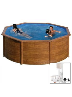 MALDIVAS Ø 350 x h 132 - filtro CARTUCCIA - Piscina fuoriterra rigida in acciaio fantasia legno Dream Pool - Grè