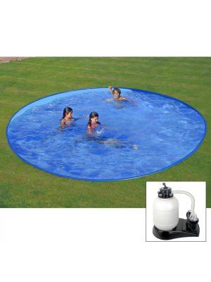 Piscina da interrare Ø 420 x h 150 cm - filtro SABBIA - rigida in acciaio In Ground Pool - Grè