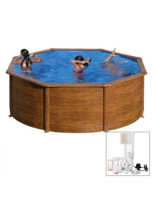 SICILIA Ø 350 x h 120 - filtro cartuccia - Piscina fuoriterra rigida in acciaio fantasia legno Dream Pool - Grè