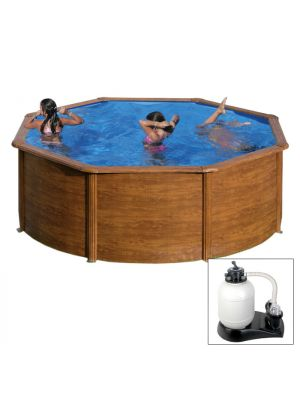 PACIFIC Ø 350 x h 120 - filtro SABBIA - Piscina fuoriterra rigida in acciaio fantasia legno Dream Pool - Grè