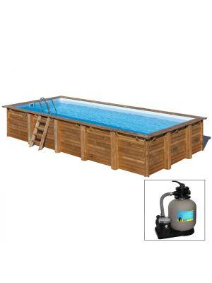 ANISE 863 x 252 x h 142 - filtro a SABBIA - piscina fuori terra RETTANGOLARE in legno sistema ad incastro - Gré