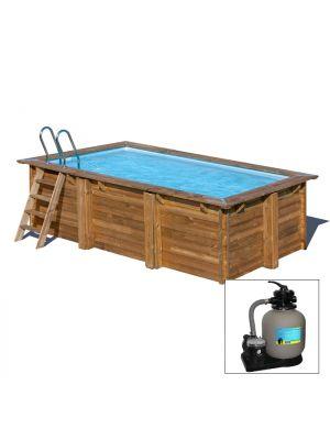 MARBELLA 379 x 229 x h 116 - filtro a SABBIA - piscina fuori terra RETTANGOLARE in legno sistema ad incastro - Gré