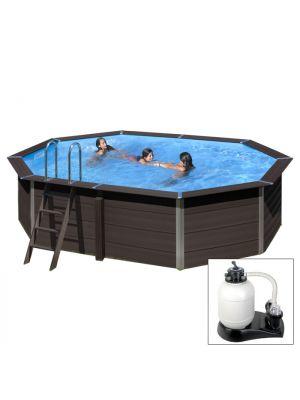 AVANTGARDE 804 x 386 x h124 cm - filtro a sabbia - piscina in materiale composito colore antracite con pannelli premontati
