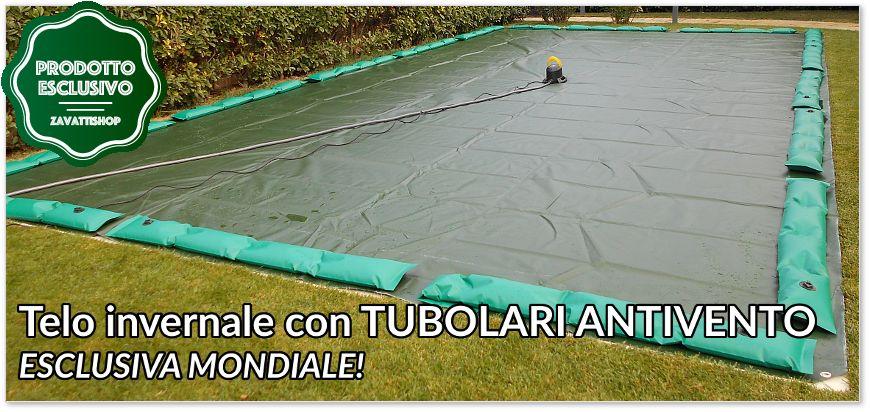 Telo di copertura invernale per piscina con tubolari antivento antiribaltamento
